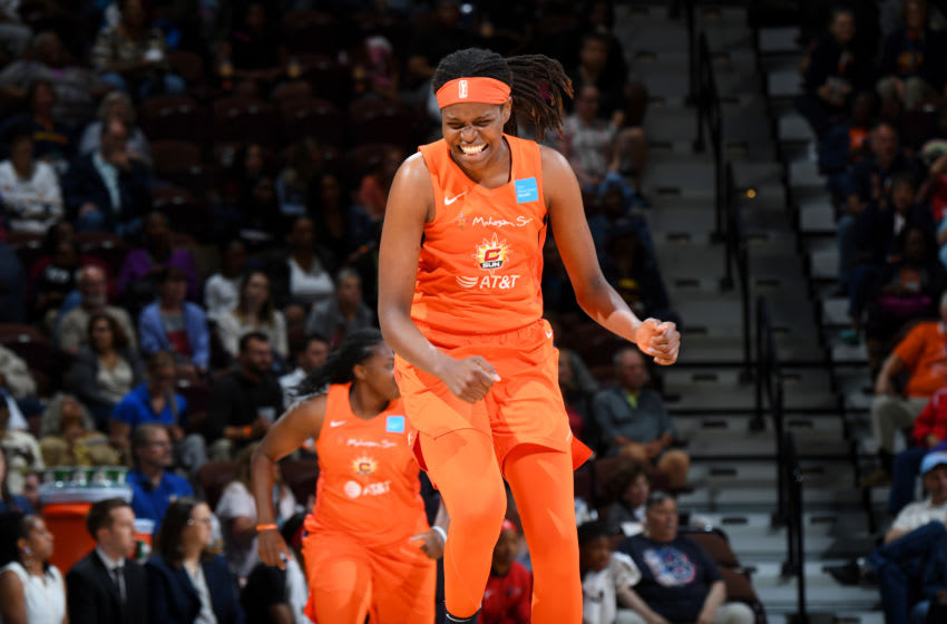 UNCASVILLE, CT - JUNE 11: Jonquel Jones #35 of Connecticut Sun reacts to a play during the game against the Washington Mystics on June 11, 2019 at the Mohegan Sun Arena in Uncasville, Connecticut. NOTE TO USER: User expressly acknowledges and agrees that, by downloading and or using this photograph, User is consenting to the terms and conditions of the Getty Images License Agreement. Mandatory Copyright Notice: Copyright 2019 NBAE (Photo by Brian Babineau/NBAE via Getty Images)
