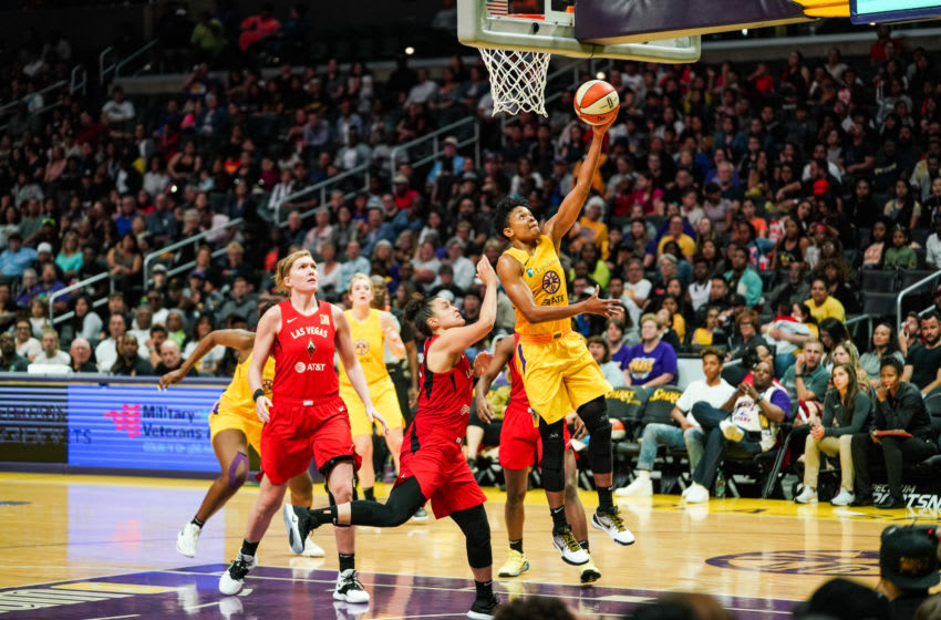 LOS ANGELES, CALIFORNIA - JUNE 27: Alana Beard of the Los Angeles Sparks shoots a layup in a game against the Las Vegas Aces at Staples Center on June 27, 2019 in Los Angeles, California. (Photo by Cassy Athena/Getty Images)