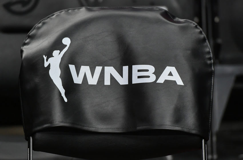 ATLANTA, GA JULY 12: The WNBA logo on a chairback during the WNBA game between the Minnesota Lynx and the Atlanta Dream on July 12th, 2019 at State Farm Arena in Atlanta, GA. (Photo by Rich von Biberstein/Icon Sportswire via Getty Images)