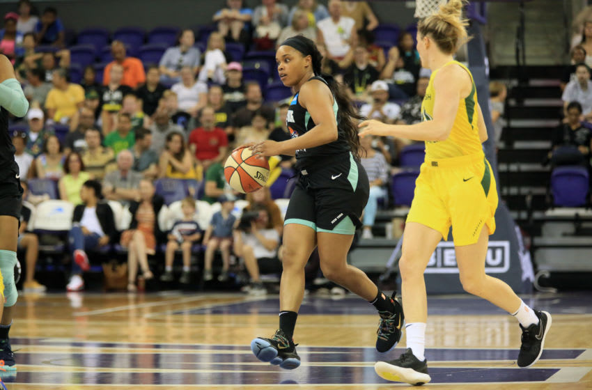 EVERETT, WA- JULY 14: Brittany Boyd #15 of the New York Liberty handles the ball against the Seattle Storm on July 14, 2019 at the Angel of the Winds Arena, in Everett, Washington. NOTE TO USER: User expressly acknowledges and agrees that, by downloading and or using this photograph, User is consenting to the terms and conditions of the Getty Images License Agreement. Mandatory Copyright Notice: Copyright 2019 NBAE (Photo by Joshua Huston/NBAE via Getty Images)