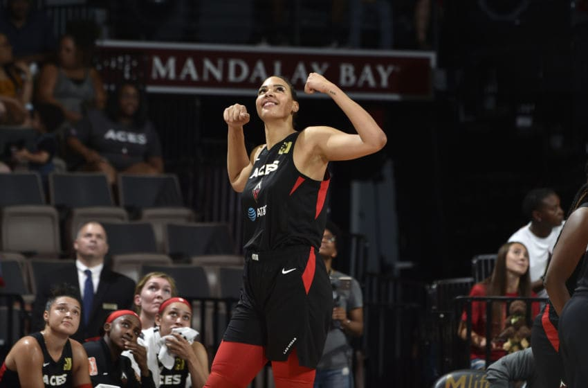 LAS VEGAS, NV - JULY 23: Liz Cambage #8 of the Las Vegas Aces looks on during the game against the Seattle Storm on July 23, 2019 at the Mandalay Bay Events Center in Las Vegas, Nevada. NOTE TO USER: User expressly acknowledges and agrees that, by downloading and or using this photograph, User is consenting to the terms and conditions of the Getty Images License Agreement. Mandatory Copyright Notice: Copyright 2019 NBAE (Photo by David Becker/NBAE via Getty Images)