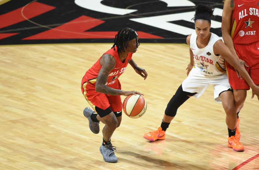 LAS VEGAS, NV - JULY 27: Erica Wheeler #17 of Team Wilson handles the ball during the AT&T WNBA All-Star Game 2019 on July 27, 2019 at the Mandalay Bay Events Center in Las Vegas, Nevada. NOTE TO USER: User expressly acknowledges and agrees that, by downloading and or using this photograph, user is consenting to the terms and conditions of the Getty Images License Agreement. Mandatory Copyright Notice: Copyright 2019 NBAE (Photo by Cooper Neill/NBAE via Getty Images)