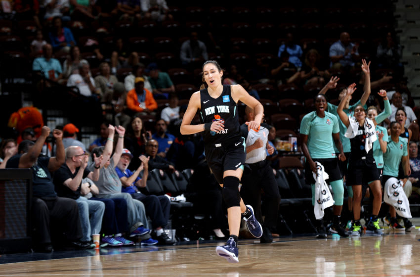 UNCASVILLE, CT - JULY 24: Rebecca Allen #9 of the New York Liberty reacts during a game against the Connecticut Sun on July 24, 2019 at the Mohegan Sun Arena in Uncasville, Connecticut. NOTE TO USER: User expressly acknowledges and agrees that, by downloading and or using this photograph, User is consenting to the terms and conditions of the Getty Images License Agreement. Mandatory Copyright Notice: Copyright 2019 NBAE (Photo by Chris Marion/NBAE via Getty Images)