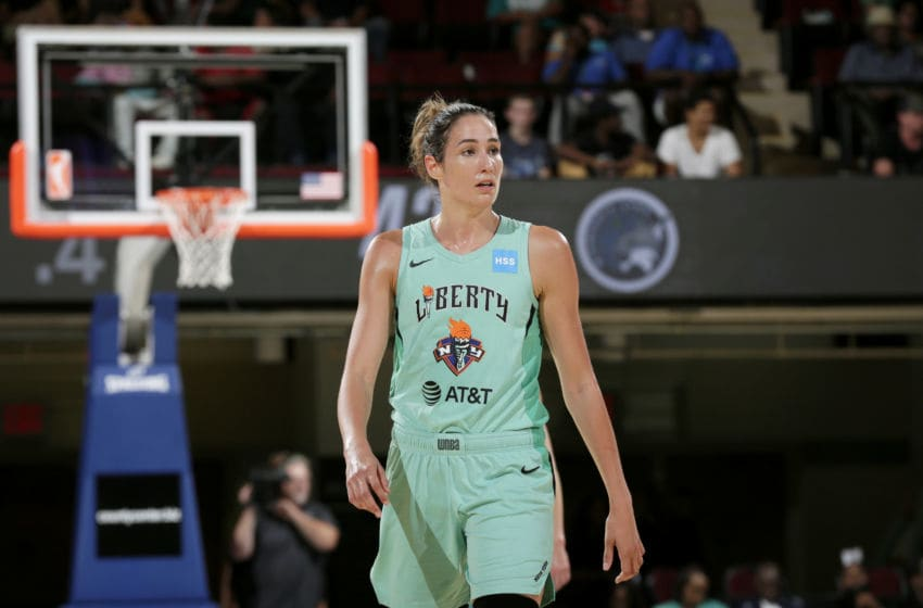 WHITE PLAINS, NY- AUGUST 13: Rebecca Allen #9 of the New York Liberty looks on. during the game against the Minnesota Lynx on August 13, 2019 at the Westchester County Center, in White Plains, New York. NOTE TO USER: User expressly acknowledges and agrees that, by downloading and or using this photograph, User is consenting to the terms and conditions of the Getty Images License Agreement. Mandatory Copyright Notice: Copyright 2019 NBAE (Photo by Steven Freeman/NBAE via Getty Images)