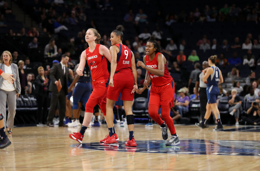 MINNEAPOLIS, MN- AUGUST 16: The Washington Mystics celebrate during the game against the Minnesota Lynx on August 16, 2019 at the Target Center in Minneapolis, Minnesota NOTE TO USER: User expressly acknowledges and agrees that, by downloading and or using this photograph, User is consenting to the terms and conditions of the Getty Images License Agreement. Mandatory Copyright Notice: Copyright 2019 NBAE (Photo by Jordan Johnson/NBAE via Getty Images)