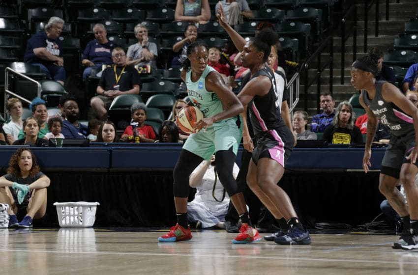 INDIANAPOLIS, IN - AUGUST 20: Tina Charles #31 of the New York Liberty handles the ball against the Indiana Fever on August 20, 2019 at the Bankers Life Fieldhouse in Indianapolis, Indiana. NOTE TO USER: User expressly acknowledges and agrees that, by downloading and or using this photograph, User is consenting to the terms and conditions of the Getty Images License Agreement. Mandatory Copyright Notice: Copyright 2019 NBAE (Photo by Ron Hoskins/NBAE via Getty Images)