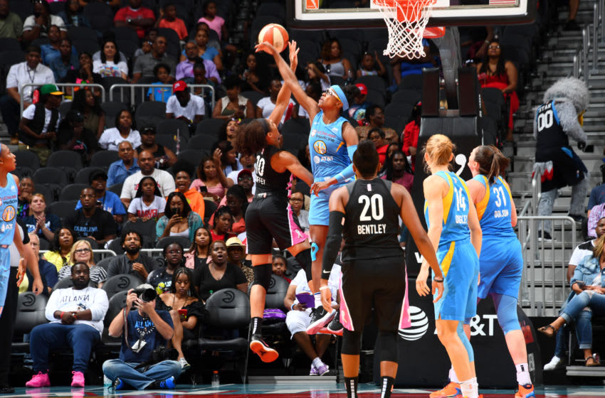 ATLANTA, GA - AUGUST 20: Diamond DeShields #1 of the Chicago Sky blocks a shot against Nia Coffey #10 of the Atlanta Dream on August 20, 2019 at the State Farm Arena in Atlanta, Georgia. NOTE TO USER: User expressly acknowledges and agrees that, by downloading and or using this photograph, User is consenting to the terms and conditions of the Getty Images License Agreement. Mandatory Copyright Notice: Copyright 2019 NBAE (Photo by Scott Cunningham/NBAE via Getty Images)