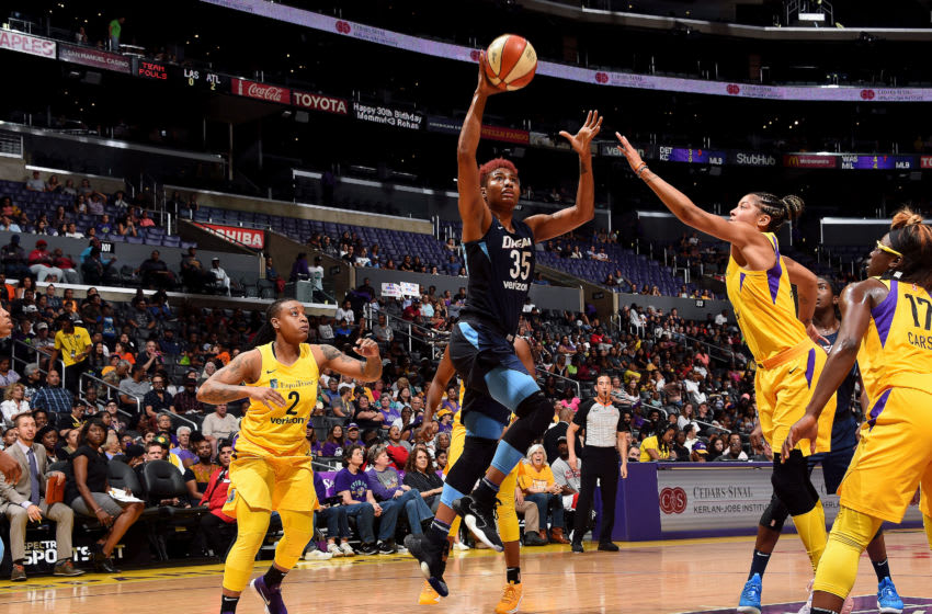 LOS ANGELES, CA - JULY 24: Angel McCoughtry #35 of the Atlanta Dream shoots the ball during the game against the Los Angeles Sparks on July 24, 2018 at Staples Center in Los Angeles, California. NOTE TO USER: User expressly acknowledges and agrees that, by downloading and or using this photograph, User is consenting to the terms and conditions of the Getty Images License Agreement. Mandatory Copyright Notice: Copyright 2018 NBAE (Photo by Juan Ocampo/NBAE via Getty Images)