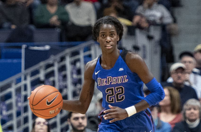 STORRS, CT - NOVEMBER 28: DePaul Blue Demons Forward Chante Stonewall (22) dribbles the ball up the court during the second half of the DePaul Blue Demons versus the Connecticut Huskies on November 28, 2018, at the XL Center in Hartford, CT. (Photo by Gregory Fisher/Icon Sportswire via Getty Images)