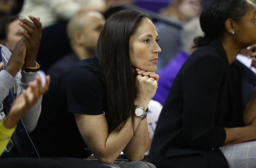 SEATTLE, WASHINGTON - JULY 03: Sue Bird #10 of the Seattle Storm watches from the sidelines due to a knee injury while the Seattle Storm take on the New York Liberty during their game at Alaska Airlines Arena on July 03, 2019 in Seattle, Washington. NOTE TO USER: User expressly acknowledges and agrees that, by downloading and or using this photograph, User is consenting to the terms and conditions of the Getty Images License Agreement. (Photo by Abbie Parr/Getty Images)