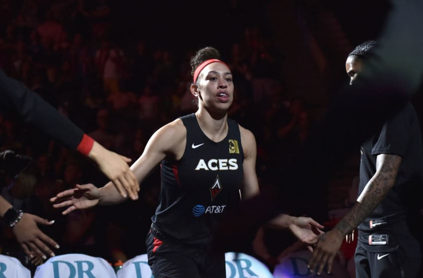 LAS VEGAS, NV - AUGUST 5: Dearica Hamby #5 of the Las Vegas Aces gets introduced before the game against the Washington Mystics on August 5, 2019 at the T-Mobile Arena in Las Vegas, Nevada. NOTE TO USER: User expressly acknowledges and agrees that, by downloading and or using this photograph, User is consenting to the terms and conditions of the Getty Images License Agreement. Mandatory Copyright Notice: Copyright 2019 NBAE (Photo by David Becker/NBAE via Getty Images)