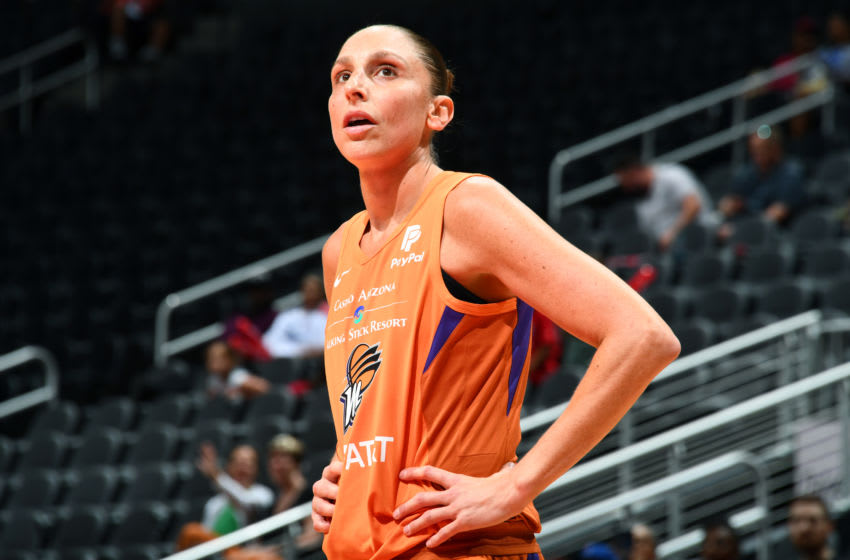 ATLANTA, GA - AUGUST 29: Diana Taurasi #3 of the Phoenix Mercury looks on during the game against the Atlanta Dream on August 29, 2019 at State Farm Arena in Atlanta, Georgia. NOTE TO USER: User expressly acknowledges and agrees that, by downloading and/or using this photograph, user is consenting to the terms and conditions of the Getty Images License Agreement. Mandatory Copyright Notice: Copyright 2019 NBAE (Photo by Scott Cunningham/NBAE via Getty Images)