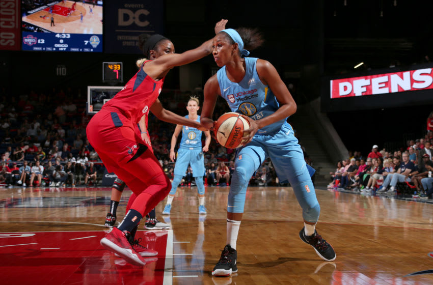 WASHINGTON, DC - SEPTEMBER 8: Astou Ndour #45 of the Chicago Sky handles the ball against the Washington Mysticson September 8, 2019 at the St Elizabeths East Entertainment & Sports Arena in Washington, DC. NOTE TO USER: User expressly acknowledges and agrees that, by downloading and/or using this photograph, user is consenting to the terms and conditions of the Getty Images License Agreement. Mandatory Copyright Notice: Copyright 2019 NBAE (Photo by Ned Dishman/NBAE via Getty Images)