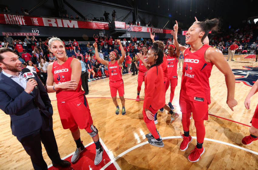 WASHINGTON, DC - SEPTEMBER 8: Elena Delle Donne #11 of the Washington Mystics speaks with the media after the game against the Chicago Sky on September 8, 2019 at the St Elizabeths East Entertainment & Sports Arena in Washington, DC. NOTE TO USER: User expressly acknowledges and agrees that, by downloading and/or using this photograph, user is consenting to the terms and conditions of the Getty Images License Agreement. Mandatory Copyright Notice: Copyright 2019 NBAE (Photo by Ned Dishman/NBAE via Getty Images)