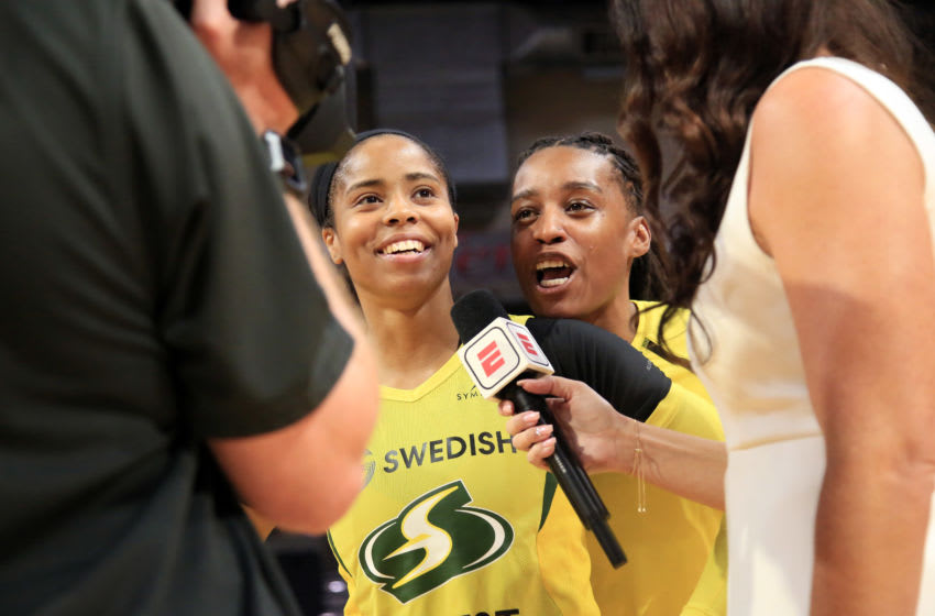 EVERETT, WA - SEPTEMBER 11: Jordin Canada #21 of the Seattle Storm talks to the media after the game against the Minnesota Lynx during Round One of the WNBA Playoffs on September 11, 2019 at Angel of the Winds Arena in Everett, Washington. NOTE TO USER: User expressly acknowledges and agrees that, by downloading and/or using this photograph, user is consenting to the terms and conditions of the Getty Images License Agreement. Mandatory Copyright Notice: Copyright 2019 NBAE (Photo by Joshua Huston/NBAE via Getty Images)