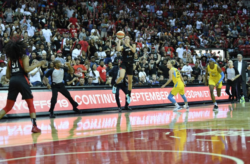 LAS VEGAS, NV - SEPTEMBER 15: Dearica Hambry #5 of the Las Vegas Aces hits the game winning three point basket against the Chicago Sky on September 15, 2019 at the Mandalay Bay Events Center in Las Vegas, Nevada. NOTE TO USER: User expressly acknowledges and agrees that, by downloading and or using this photograph, User is consenting to the terms and conditions of the Getty Images License Agreement. Mandatory Copyright Notice: Copyright 2019 NBAE (Photo by Jeff Bottari/NBAE via Getty Images)