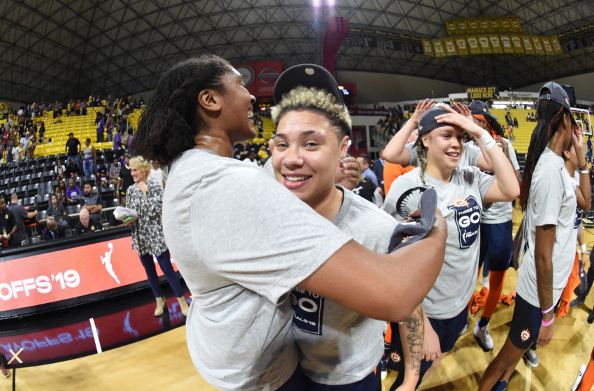 LOS ANGELES, CA - SEPTEMBER 22: Morgan Tuck #33 of the Connecticut Sun hugs Natisha Hiedeman #2 of the Connecticut Sun after advancing to the 2019 WNBA Finals after Game Three of the 2019 WNBA Semifinals on September 22, 2019 at the Walter Pyramid in Long Beach, California NOTE TO USER: User expressly acknowledges and agrees that, by downloading and or using this photograph, User is consenting to the terms and conditions of the Getty Images License Agreement. Mandatory Copyright Notice: Copyright 2019 NBAE (Photo by Andrew D. Bernstein/NBAE via Getty Images)
