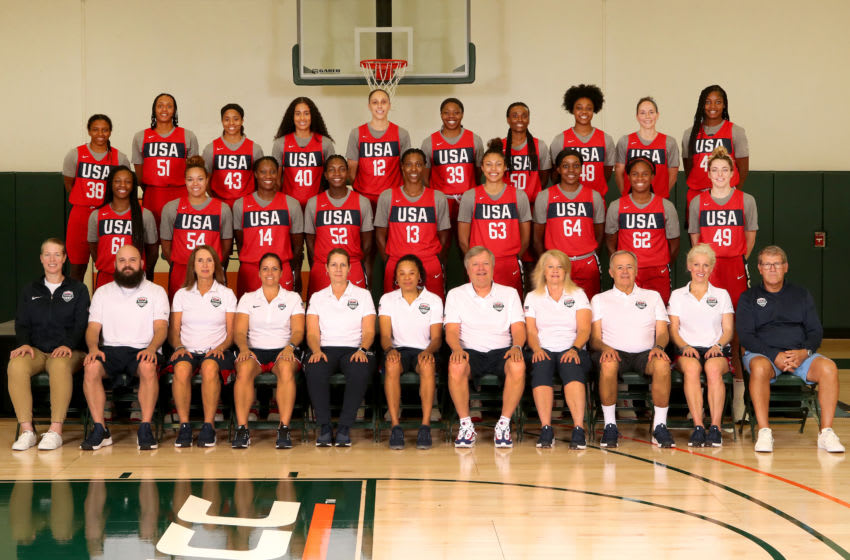 CORCAL GABLES, FL - SEPTEMBER 18: The 2019 USA Women's National Team poses for a team photo during the National Team Camp on September 18, 2019 at Watsco Center at University of Miami in Coral Gables, Florida. NOTE TO USER: User expressly acknowledges and agrees that, by downloading and/or using this photograph, user is consenting to the terms and conditions of the Getty Images License Agreement. Mandatory Copyright Notice: Copyright 2019 NBAE (Photo by Issac Baldizon/NBAE via Getty Images)