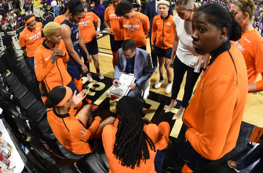 LOS ANGELES, CA - SEPTEMBER 22: The Connecticut Sun huddles up against the Los Angeles Sparks during Game Three of the 2019 WNBA Semifinals on September 22, 2019 at the Walter Pyramid in Long Beach, California NOTE TO USER: User expressly acknowledges and agrees that, by downloading and or using this photograph, User is consenting to the terms and conditions of the Getty Images License Agreement. Mandatory Copyright Notice: Copyright 2019 NBAE (Photo by Andrew D. Bernstein/NBAE via Getty Images)