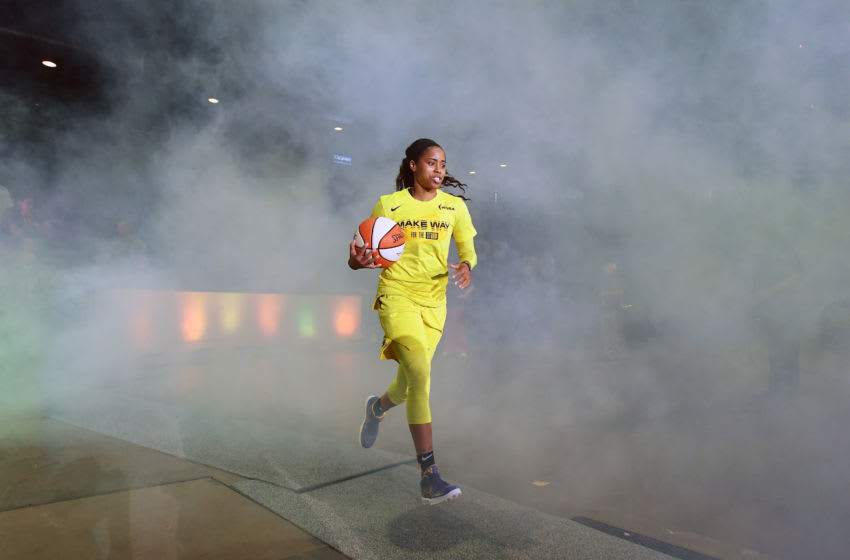 EVERETT, WASHINGTON - SEPTEMBER 11: Jordin Canada #21 of the Seattle Storm takes the court before the first game of the WNBA playoffs against the Minnesota Lynx at the Angel of the Winds Arena on September 11, 2019 in Everett, Washington. The Seattle Storm top the Minnesota Lynx 84-74 and advance to the second round. (Photo by Alika Jenner/Getty Images)