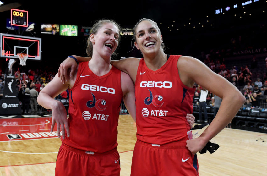 LAS VEGAS, NEVADA - SEPTEMBER 24: Emma Meesseman (L) #33 and Elena Delle Donne #11 of the Washington Mystics celebrate on the court after their 94-90 victory over the Las Vegas Aces in Game Four of the 2019 WNBA Playoff semifinals at the Mandalay Bay Events Center on September 24, 2019 in Las Vegas, Nevada. The Mystics won the series 3-1. NOTE TO USER: User expressly acknowledges and agrees that, by downloading and or using this photograph, User is consenting to the terms and conditions of the Getty Images License Agreement. (Photo by Ethan Miller/Getty Images)