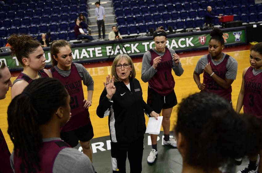 PHILADELPHIA, PA - MARCH 10: Head coach Kathy Delaney-Smith of the Harvard Crimson talks to her team during a shoot around practice in preparation for the Ivy League tournament at The Palestra on March 10, 2017 in Philadelphia, Pennsylvania. (Photo by Corey Perrine/Getty Images)