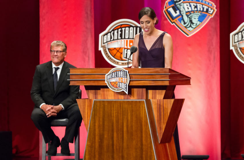 SPRINGFIELD, MA - SEPTEMBER 08: Inductee Rebecca Lobo speaks during the 2017 Naismith Memorial Basketball Hall of Fame Enshrinement Ceremony on September 8, 2017, at Symphony Hall in Springfield, MA. (Photo by M. Anthony Nesmith/Icon Sportswire via Getty Images)