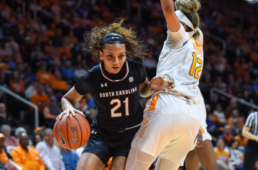 KNOXVILLE, TN - FEBRUARY 24: South Carolina Gamecocks forward Mikiah Herbert Harrigan (21) drives around Tennessee Lady Vols guard Rae Burrell (12) during a college basketball game between the Tennessee Lady Vols and the South Carolina Gamecocks on February 24, 2019, at Thompson-Boling Arena in Knoxville, TN. (Photo by Bryan Lynn/Icon Sportswire via Getty Images)