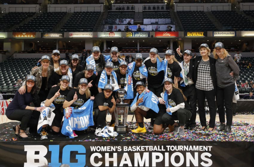 INDIANAPOLIS, IN - MARCH 10: The Iowa Hawkeyes are the 2019 Women's B1G Tournament championship game between the Maryland Terrapins and the Iowa Hawkeyes on March 10, 2019 at Bankers Life Fieldhouse, in Indianapolis Indiana.(Photo by Jeffrey Brown/Icon Sportswire via Getty Images)