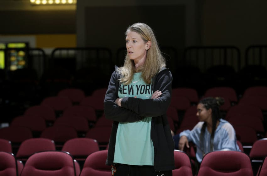 WHITE PLAINS, NY - AUGUST 30: Head Coach Katie Smith of the New York Liberty looks on before the game against Connecticut Sun on August 30, 2019 at the Westchester County Center, in White Plains, New York. NOTE TO USER: User expressly acknowledges and agrees that, by downloading and or using this photograph, User is consenting to the terms and conditions of the Getty Images License Agreement. Mandatory Copyright Notice: Copyright 2019 NBAE (Photo by Steve Freeman/NBAE via Getty Images)
