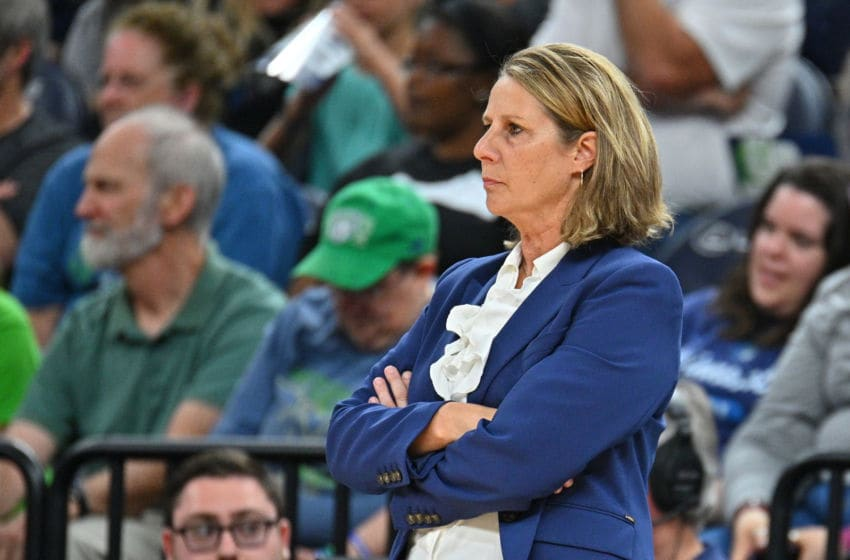 MINNEAPOLIS, MINNESOTA - SEPTEMBER 01: Head coach Cheryl Reeve of the Minnesota Lynx looks on during her team's game against the Indiana Fever at Target Center on September 01, 2019 in Minneapolis, Minnesota. NOTE TO USER: User expressly acknowledges and agrees that, by downloading and or using this photograph, User is consenting to the terms and conditions of the Getty Images License Agreement. (Photo by Sam Wasson/Getty Images)