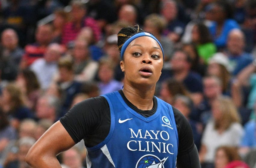 MINNEAPOLIS, MINNESOTA - SEPTEMBER 01: Odyssey Sims #1 of the Minnesota Lynx stands on the court during her team's game against the Indiana Fever at Target Center on September 01, 2019 in Minneapolis, Minnesota. The Lynx defeated the Fever 81-73. NOTE TO USER: User expressly acknowledges and agrees that, by downloading and or using this photograph, User is consenting to the terms and conditions of the Getty Images License Agreement. (Photo by Sam Wasson/Getty Images)