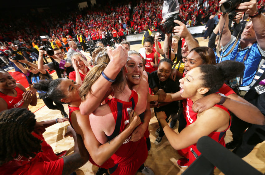 WASHINGTON, DC -  OCTOBER 10: The the Washington Mystics celebrate after a win against the Connecticut Sun during Game Five of the 2019 WNBA Finals on October 10, 2019 at St Elizabeths East Entertainment & Sports Arena in Washington, DC. NOTE TO USER: User expressly acknowledges and agrees that, by downloading and or using this Photograph, user is consenting to the terms and conditions of the Getty Images License Agreement. Mandatory Copyright Notice: Copyright 2019 NBAE (Photo by Ned Dishman/NBAE via Getty Images)