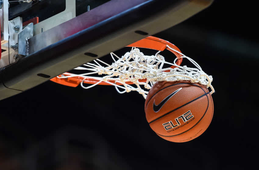 KNOXVILLE, TN - FEBRUARY 24: A basketball goes through the net before a college basketball game between the Tennessee Lady Vols and the South Carolina Gamecocks on February 24, 2019, at Thompson-Boling Arena in Knoxville, TN. (Photo by Bryan Lynn/Icon Sportswire via Getty Images)
