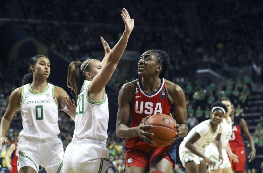 EUGENE, OREGON - NOVEMBER 9: Nnemkadi Ogwumike #16 of the USA Women's National Team moves the ball against the Oregon Ducks Women's Basketball Team during an exhibition game at Matthew Knight Arena in Eugene, Oregon on November 9, 2019. NOTE TO USER: User expressly acknowledges and agrees that, by downloading and/or using this photograph, user is consenting to the terms and conditions of the Getty Images License Agreement. Mandatory Copyright Notice: Copyright 2019 NBAE (Photo by Eric Evans/NBAE via Getty Images)
