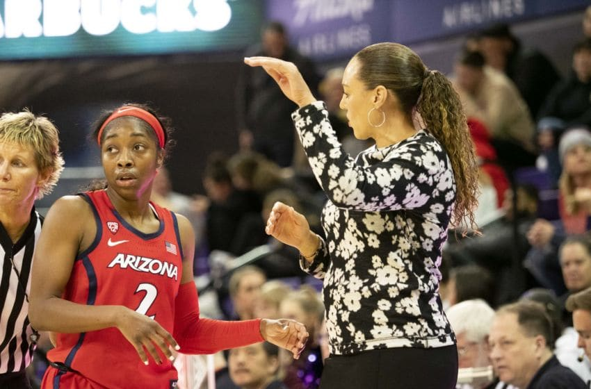 SEATTLE, WA - FEBRUARY 07: Arizona Wildcats head coach Adia Barnes communicates with Arizona Wildcats guard Aarion McDonald (2) during a college basketball game between the Arizona Wildcats against the Washington Huskies on February 07, 2019, at Alaska Airlines Arena at Hec Edmundson Pavilion in Seattle, WA. (Photo by Joseph Weiser/Icon Sportswire via Getty Images)