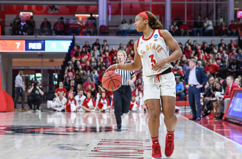 RALEIGH, NC - MARCH 23: NC State Wolfpack guard Kai Crutchfield (3) during the 2019 Div 1 Women's Championship - First Round college basketball game between the Maine Black Bears and NC State Wolfpack on March 23, 2019, at Reynolds Coliseum in Raleigh, NC. (Photo by Michael Berg/Icon Sportswire via Getty Images)
