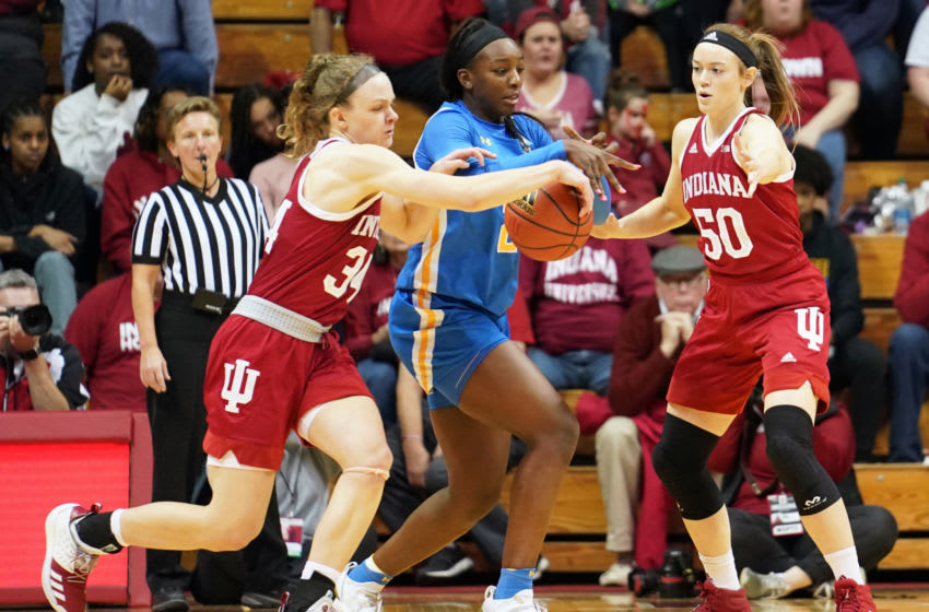 BLOOMINGTON, UNITED STATES - 2019/12/22: Indiana Hoosiers, Grace Berger (34) knocks the ball away from UCLA Bruins Michaela Onyenwere (21) during the NCAA women's college basketball game against UCLA at Simon Skjodt Assembly Hall. (Photo by Bobby Goddin/SOPA Images/LightRocket via Getty Images)