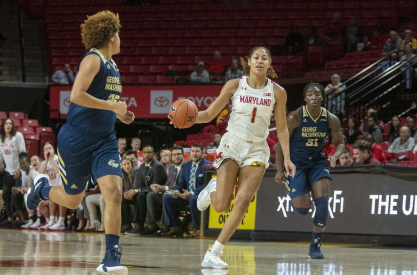 COLLEGE PARK, MD - NOVEMBER 20: Shakira Austin #1 of Maryland moves into the attack during a game between George Washington University and University of Maryland at Xfinity Center on November 20, 2019 in College Park, Maryland. (Photo by Tony Quinn/ISI Photos/Getty Images)