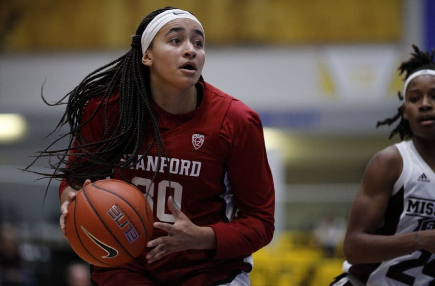 VICTORIA , BC - NOVEMBER 30: Haley Jones #30 of the Stanford Cardinal dribbles the ball against the Mississippi State Bulldogs at the Greater Victoria Invitational at the Centre for Athletics, Recreation and Special Abilities (CARSA) on November 30, 2019 in Victoria, British Columbia, Canada. (Photo by Kevin Light/Getty Images)