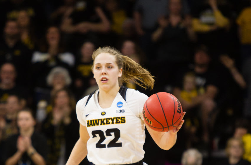 IOWA CITY, IA - MARCH 22: Iowa Hawkeyes guard Kathleen Doyle (22) during the NCAA Division I Women's Championship first round college basketball game between the Mercer Bears and the Iowa Hawkeyes at Carver Hawkeye Arena in Iowa City, Iowa on March 22, 2019. (Photo by Kyle Ocker/Icon Sportswire via Getty Images)