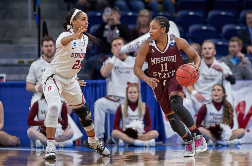 CHICAGO, IL - MARCH 30: Missouri State Lady Bears guard Brice Calip (11) battles with Stanford Cardinal guard DiJonai Carrington (21) in game action during the Women's NCAA Division I Championship - Third Round game between the Missouri State Lady Bears and the Stanford Cardinal on March 30, 2019 at the Wintrust Arena in Chicago, IL. (Photo by Robin Alam/Icon Sportswire via Getty Images)