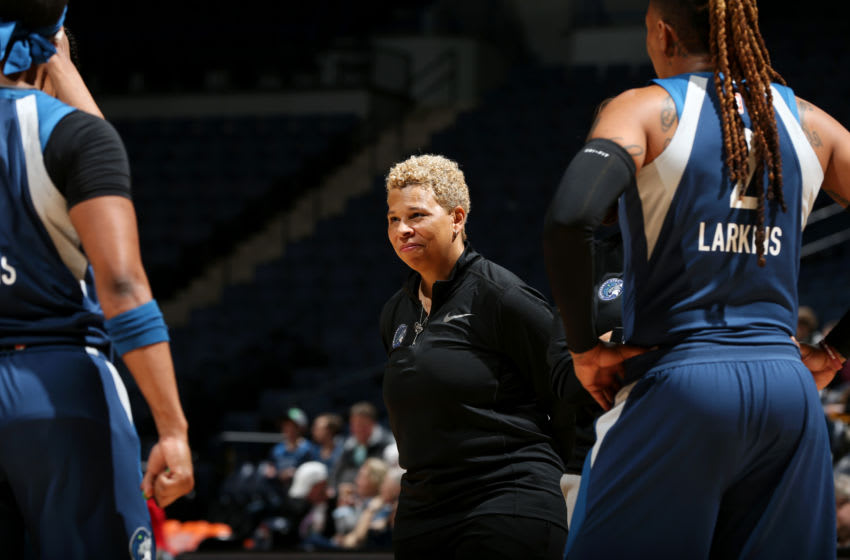 MINNEAPOLIS, MN- MAY 10: Assistant Coach Shelley Patterson of the Minnesota Lynx looks on during the game against the Washington Mystics on May 10, 2019 at the Target Center in Minneapolis, Minnesota. NOTE TO USER: User expressly acknowledges and agrees that, by downloading and or using this photograph, User is consenting to the terms and conditions of the Getty Images License Agreement. Mandatory Copyright Notice: Copyright 2019 NBAE (Photo by David Sherman/NBAE via Getty Images)