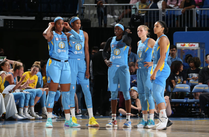 CHICAGO, IL - SEPTEMBER 11: The Chicago Sky look on during the game against the Phoenix Mercury during Round One of the WNBA Playoffs on September 11, 2019 at Wintrust Arena in Chicago, Illinois. NOTE TO USER: User expressly acknowledges and agrees that, by downloading and/or using this photograph, user is consenting to the terms and conditions of the Getty Images License Agreement. Mandatory Copyright Notice: Copyright 2019 NBAE (Photo by Gary Dineen/NBAE via Getty Images)