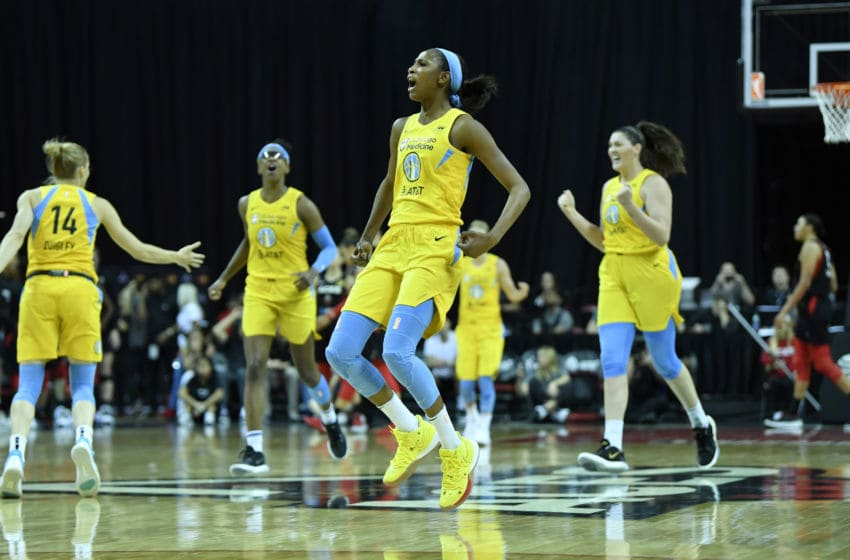 LAS VEGAS, NV - SEPTEMBER 15: Cheyenne Parker #32 of the Chicago Sky reacts to play against the Las Vegas Aces on September 15, 2019 at the Mandalay Bay Events Center in Las Vegas, Nevada. NOTE TO USER: User expressly acknowledges and agrees that, by downloading and or using this photograph, User is consenting to the terms and conditions of the Getty Images License Agreement. Mandatory Copyright Notice: Copyright 2019 NBAE (Photo by Jeff Bottari/NBAE via Getty Images)