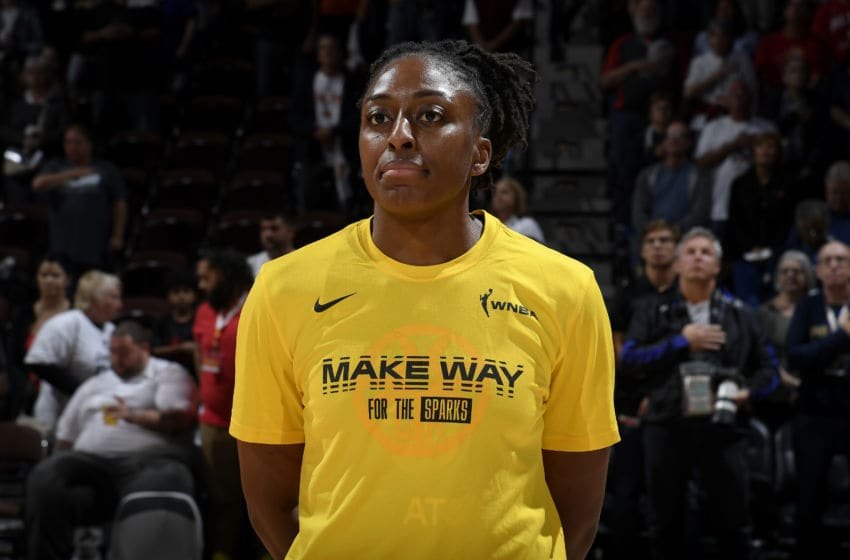 BOSTON, MA - SEPTEMBER 17: Nneka Ogwumike #30 of the Los Angeles Sparks stands for the National Anthem before the game against the Connecticut Sun on September 17, 2019 at the Mohegan Sun Arena in Uncasville, Connecticut. NOTE TO USER: User expressly acknowledges and agrees that, by downloading and or using this photograph, User is consenting to the terms and conditions of the Getty Images License Agreement. Mandatory Copyright Notice: Copyright 2019 NBAE (Photo by Brian Babineau/NBAE via Getty Images)
