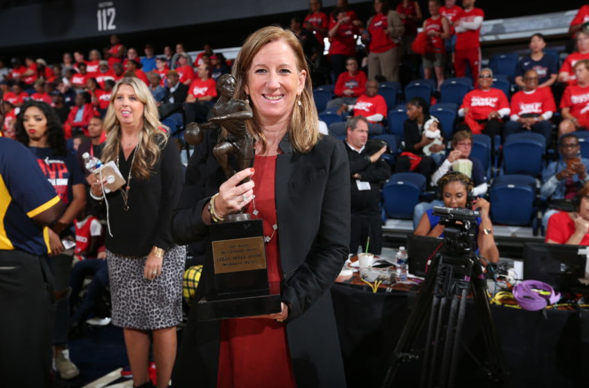 WASHINGTON, DC - SEPTEMBER 19: WNBA Commissioner Cathy Engelbert poses for a photo with the WNBA MVP trophy during Game Two of the WNBA Semi Finals on September 19, 2019 at the St. Elizabeths East Entertainment and Sports Arena in Washington, DC. NOTE TO USER: User expressly acknowledges and agrees that, by downloading and or using this photograph, User is consenting to the terms and conditions of the Getty Images License Agreement. Mandatory Copyright Notice: Copyright 2019 NBAE (Photo by Ned Dishman/NBAE via Getty Images)