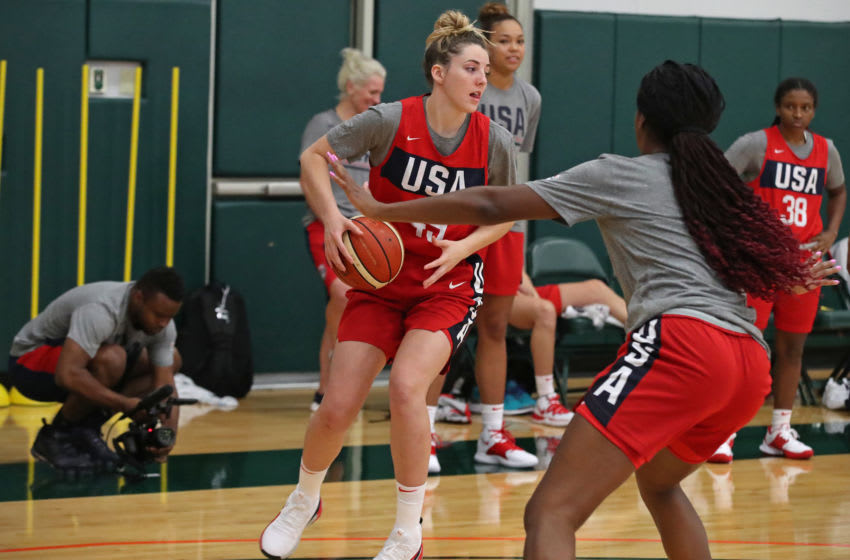 CORCAL GABLES, FL - SEPTEMBER 18: Katie Lou Samuelson of Team USA handles the ball during the Women's National Team Camp on September 18, 2019 at Watsco Center at University of Miami in Coral Gables, Florida. NOTE TO USER: User expressly acknowledges and agrees that, by downloading and/or using this photograph, user is consenting to the terms and conditions of the Getty Images License Agreement. Mandatory Copyright Notice: Copyright 2019 NBAE (Photo by Issac Baldizon/NBAE via Getty Images)