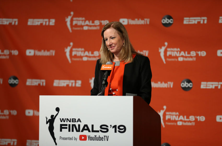 WASHINGTON, DC - SEPTEMBER 29: WNBA Commissioner Cathy Engelbert addresses the media prior to Game One of the 2019 WNBA Finals between the Washington Mystics and the Connecticut Sun on September 29, 2019 at the St. Elizabeths East Entertainment and Sports Arena in Washington, DC. NOTE TO USER: User expressly acknowledges and agrees that, by downloading and or using this photograph, User is consenting to the terms and conditions of the Getty Images License Agreement. Mandatory Copyright Notice: Copyright 2019 NBAE (Photo by Stephen Gosling/NBAE via Getty Images)