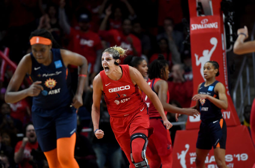 WASHINGTON, DC - OCTOBER 10: Washington Mystics forward Elena Delle Donne (11) celebrates late in the game at the Entertainment and Sports Arena for the WNBA Championship title October 10, 2019 in Washington, DC. The Washington Mystics won the championship 89-78 over the Connecticut Sun. (Photo by Katherine Frey/The Washington Post via Getty Images)